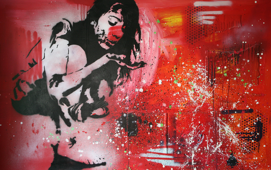DIRTY GIRL schilderij painting Michel Willemsen